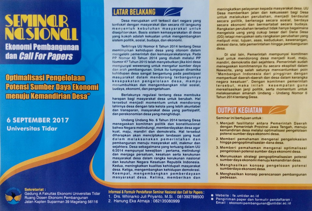 Seminar Nasional Ekonomi Pembangunan dan Call For Papers